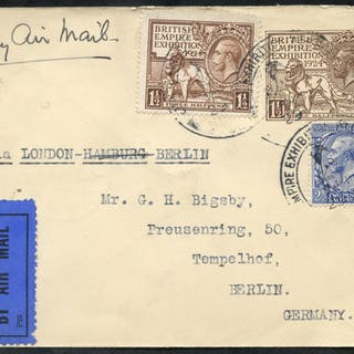 1924 Wembley stationery envelope uprated, sent by airmail to Berlin