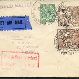 1924 Wembley stationery envelope uprated sent by airmail to Berlin