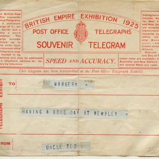 1925 British Empire Exhibition Telegram to 'MARGERY'