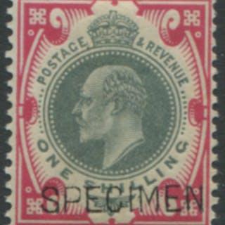 1902 1s dull green & carmine optd SPECIMEN Type 16