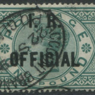 I.R OFFICIAL 1892 £1 green, superb with Glasgow date stamp