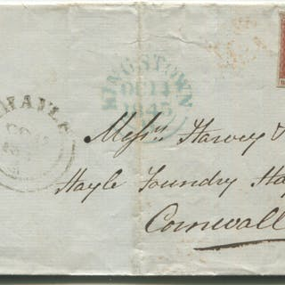 1845 Oct 14th cover from Kingstown, Ireland to Hayle Foundry, Cornwall