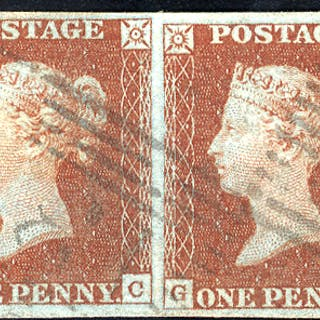 1841 1d red-brown - Plate 45 GC-GD horizontal pair
