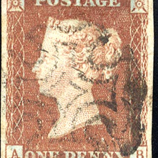1841 1d red-brown - Plate 18 AB