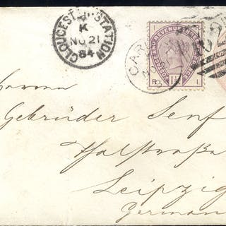 1884 1d pink envelope to Leipzig, Germany uprated with 1½d lilac