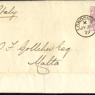 1879 cover to Malta, franked 2½d rosy mauve Plate 15