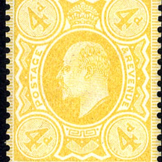 1910 4d colour trial, very fine example printed in yellow on gummed