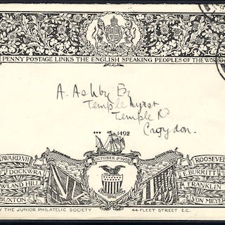1902 decoratively printed Junior Philatelic Society envelope used