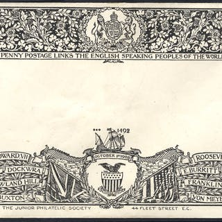 1902 decoratively printed Junior Philatelic Society envelope for Penny