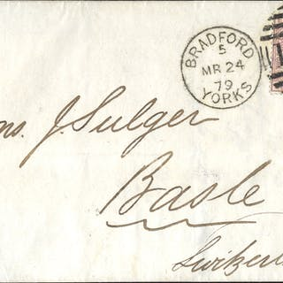 1879 clean cover to Basle, Switzerland, franked 2½d rosy mauve Plate 12