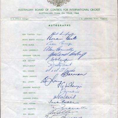 CRICKET - 1964 Australian Team on Tour of England