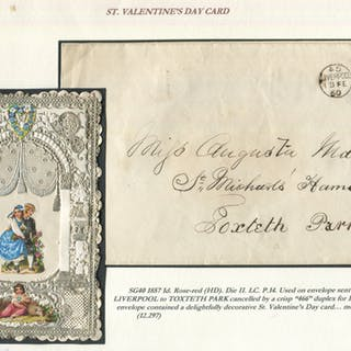 1857 1d rose-red HD on envelope sent locally in Liverpool to Toxteth
