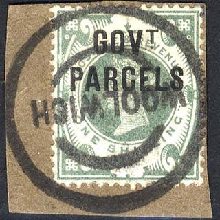GOVT PARCELS 1890 1s dull green, tied to small piece