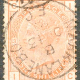 1881 Wmk Imperial Crown 1s orange brown Pl.13, VFU