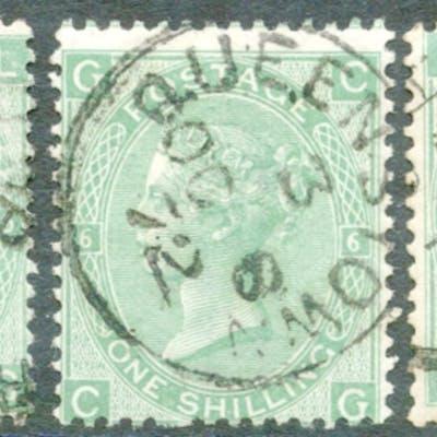 1867-73 Wmk Spray 1s green Plates 5, 6 & 7