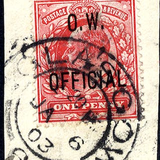 O.W OFFICIAL 1902 1d scarlet tied to piece by Glasgow double ring c.d.s.