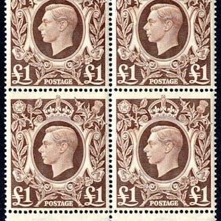 1948 £1 brown lower marginal UM block of four