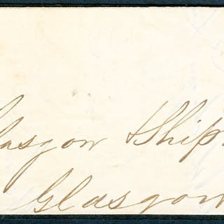 1841 April 21st part cover front & back flap, franked red from black Plate 11