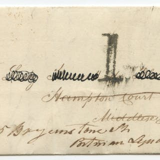 1840 Nov 11th cover from London to Hampton Court Palace, franked Pl.7 QE