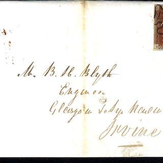 1842 Feb 5th entire Edinburgh to Irvine, franked Pl.2 BB