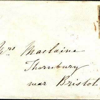 1840 envelope from Oxford to Thornbury, Nr Bristol, franked Pl.2 GK
