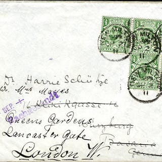 1911 ½d bluish green Wmk Crown Die IA, on cover (incl. strip of three)