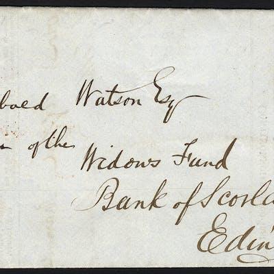 1844 Bank of Scotland branch return form Kilmarnock to Edinburgh