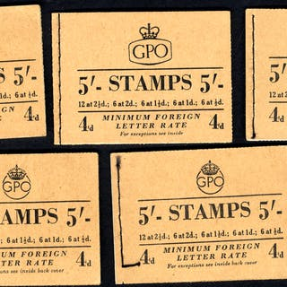 1953-54 Composite 5s Wilding booklets (5)