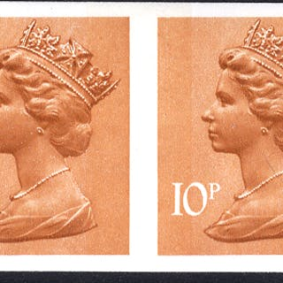 1976 10p orange-brown (2 bands) Imperf pair