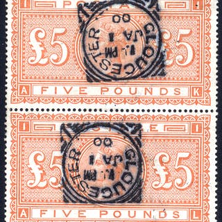 1867-83 £5 orange AK/AL vertical pair, VFU each with a Gloucester