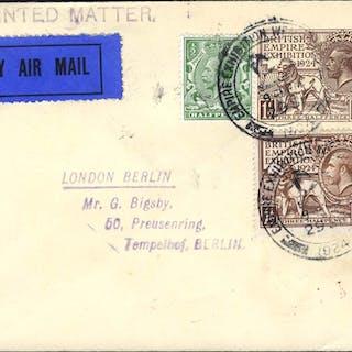 1924 Wembley 1½d envelope uprated with Wembley 1½d + ½d defins, sent