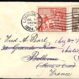 1924 Wembley set together on a cover to Bellevue, France then redirected