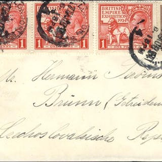 1924 airmail cover to Brno, Czechoslovakia, sent via Berlin, franked