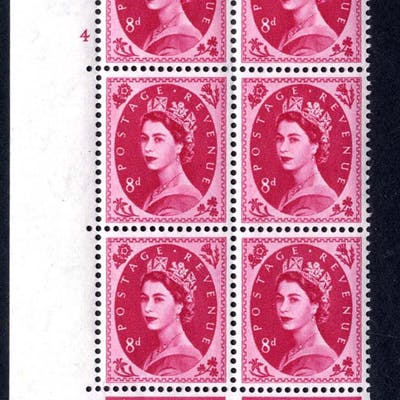 1960 Wilding 8d Crowns, white paper, Perf Type A, Cyl. 4 - block of six