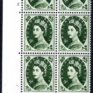 1959 Wilding 9d Crowns, white paper, Perf Type A, Cyl. 2 - block of six