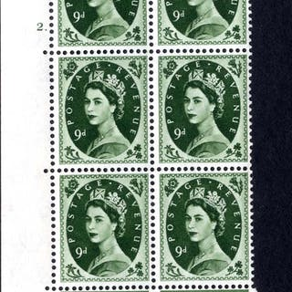 1959 Wilding 9d Crowns, white paper, Perf Type A, Cyl. 2 dot - block of six