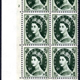 1959 Wilding 9d Crowns, violet phosphor, Perf Type A, Cyl. 2 - block of six
