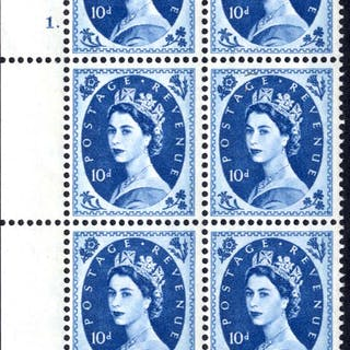 1966 Wilding 10d Crowns, violet phosphor, Perf Type F(L), Cyl. 1 dot