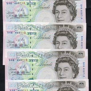 1990 Gill £5 Stephenson - consecutive run of five (B48 409711/15), UNC