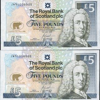 Royal Bank of Scotland 2005 Goodwin £5 Jack Nicklaus consecutive pair