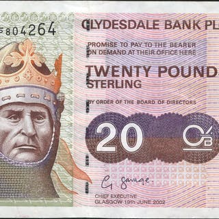 Clydesdale Bank Plc 2002 (19 June) G. Savage £20 Robert the Bruce