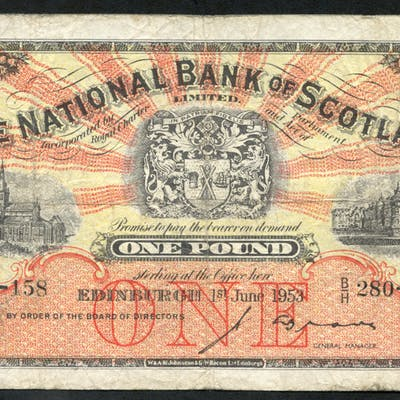National Bank of Scotland 1953 (Jun) J. A. Brown £1 Glasgow Cathedral