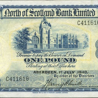 North of Scotland Bank Ltd 1940 (July) Harvey H. Smith £1 blue & yellow