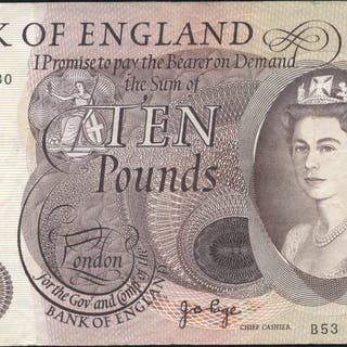 1970 Page £10 brown (B53 431430), VF