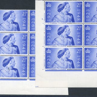 1948 Silver Wedding 2½d ultramarine UM Control blocks of six from