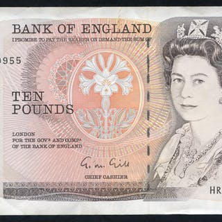1988 Gill £10 Nightingale (HR08 169955), EF+