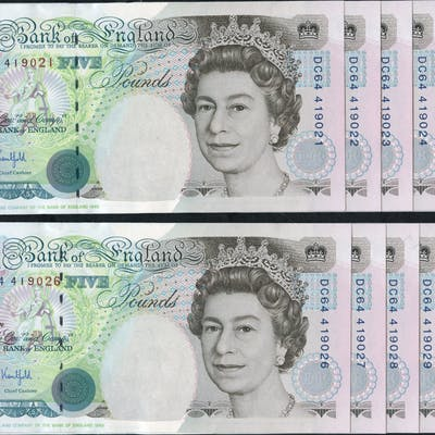 1993 Kentfield £5 Stephenson, consecutive run of ten numbers (DC64
