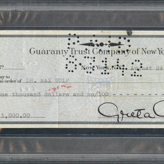 GARBO, GRETA 1905/1990 (Swedish/American Film Actress) Bank cheque