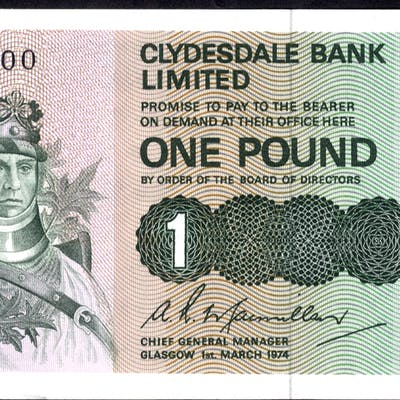 Clydesdale Bank Ltd 1974 A. R Macmillan £1 Robert the Bruce (D/V 170800), A/UNC