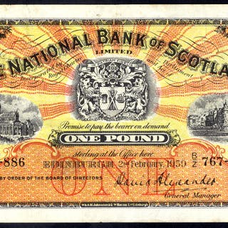 National Bank of Scotland 1959 (Feb) David Alexander £1 Glasgow Cathedral